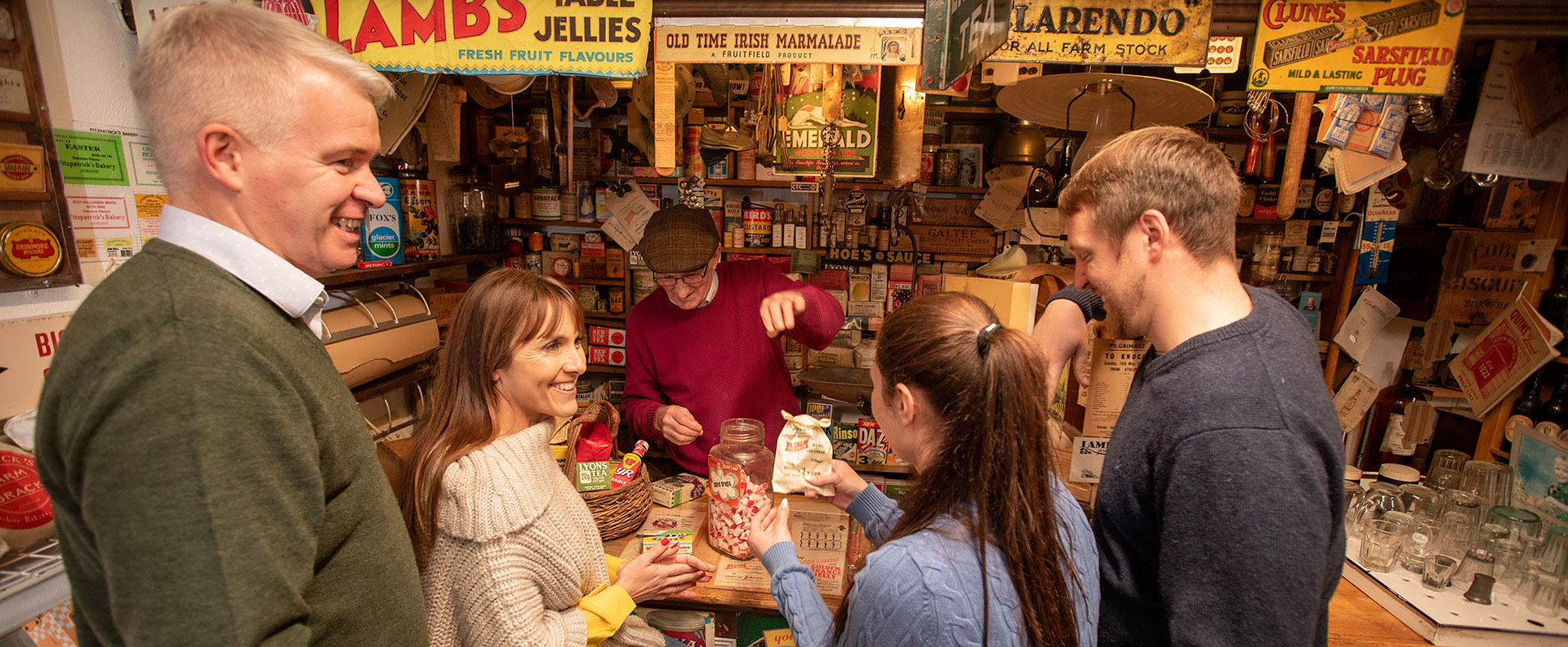 A group of people at the sweet shop